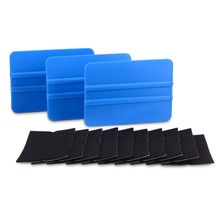 EHDIS 3pcs Carbon Fiber Wrapping Vinyl Squeegee Scraper+10pcs Felt Fabric Edge Car Wrap Window Tint Household Cleaning Tool