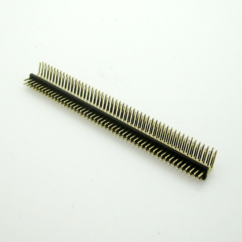 5PCS Gold Plated Pitch 1.27mm 2x50 Pin 100 Pin Double Row Right Angle Male Pin Header Strip Connector free shipping zn447j gold plated double pin dip ic