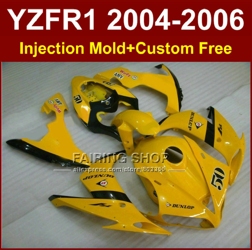 Custom Injection mold fairings kit for YAMAHA 2004 2005 2006 YZF R1 YZF1000 YZFR1 04 05 06 yellow aftermarket fairing body parts aftermarket free shipping motorcycle parts led tail brake light turn signals for yamaha yzf r1 yzf r1 2004 2005 2006 smoke