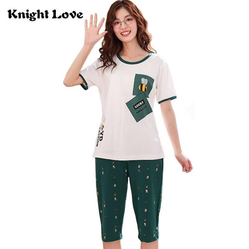High Quality 100% Cotton Women   Pajamas     Sets   Summer Sleepwear Short Sleeve Pyjamas Round Neck Ladies Cute Cartoon Print Nightgown