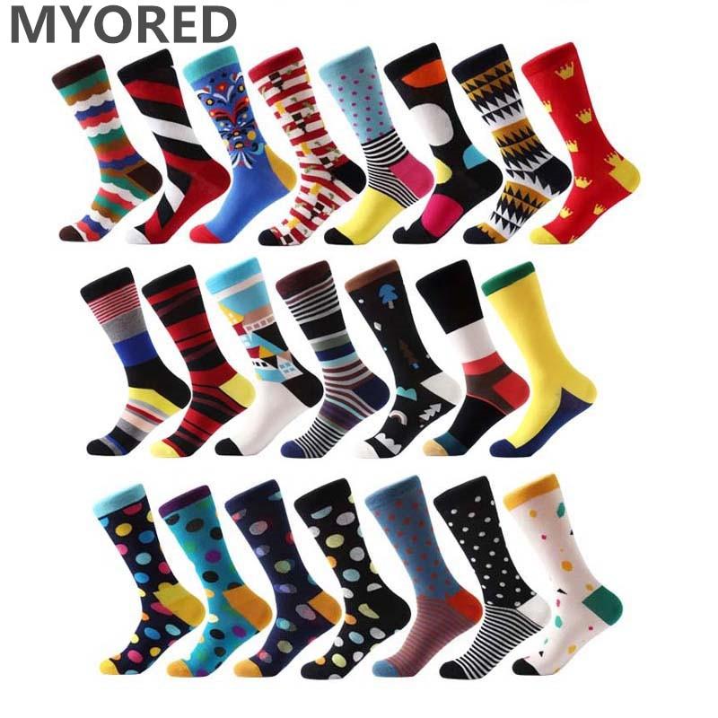 MYORED Colorful Socks Wedding-Gift Stripes Cotton Fashion Men Jacquard Hit Optic-Combed