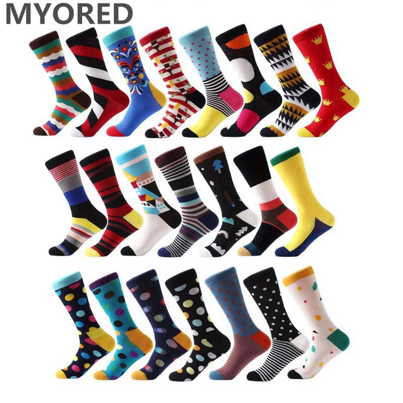 MYORED Fashion Colorful Socks Men Hit Color Argyle Stripes Big Dot Jacquard Filled Optic Combed Cotton Male Sock Wedding Gift