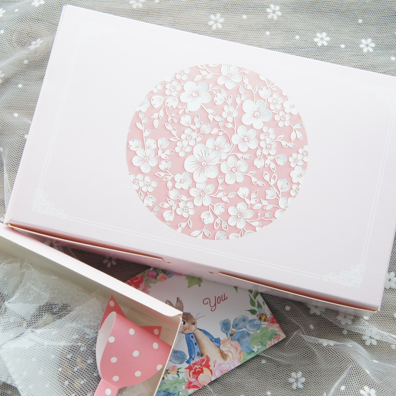 new 21.6*5*13.5cm 10pcs pink wintersweet design Paper Box Cookie candy Storage Boxes gifts snacks baby shower packaging Use