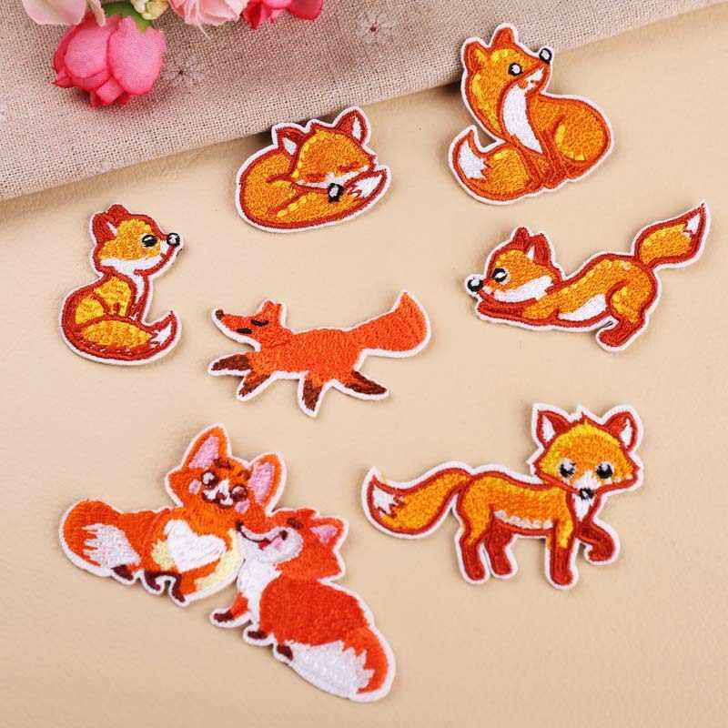 Semua Jenis Gaya Fox Bordiran Patch Stiker Hewan DIY Jahit Jersey Pakaian untuk Jaket Lencana Besi Di T-shirt Accessorie