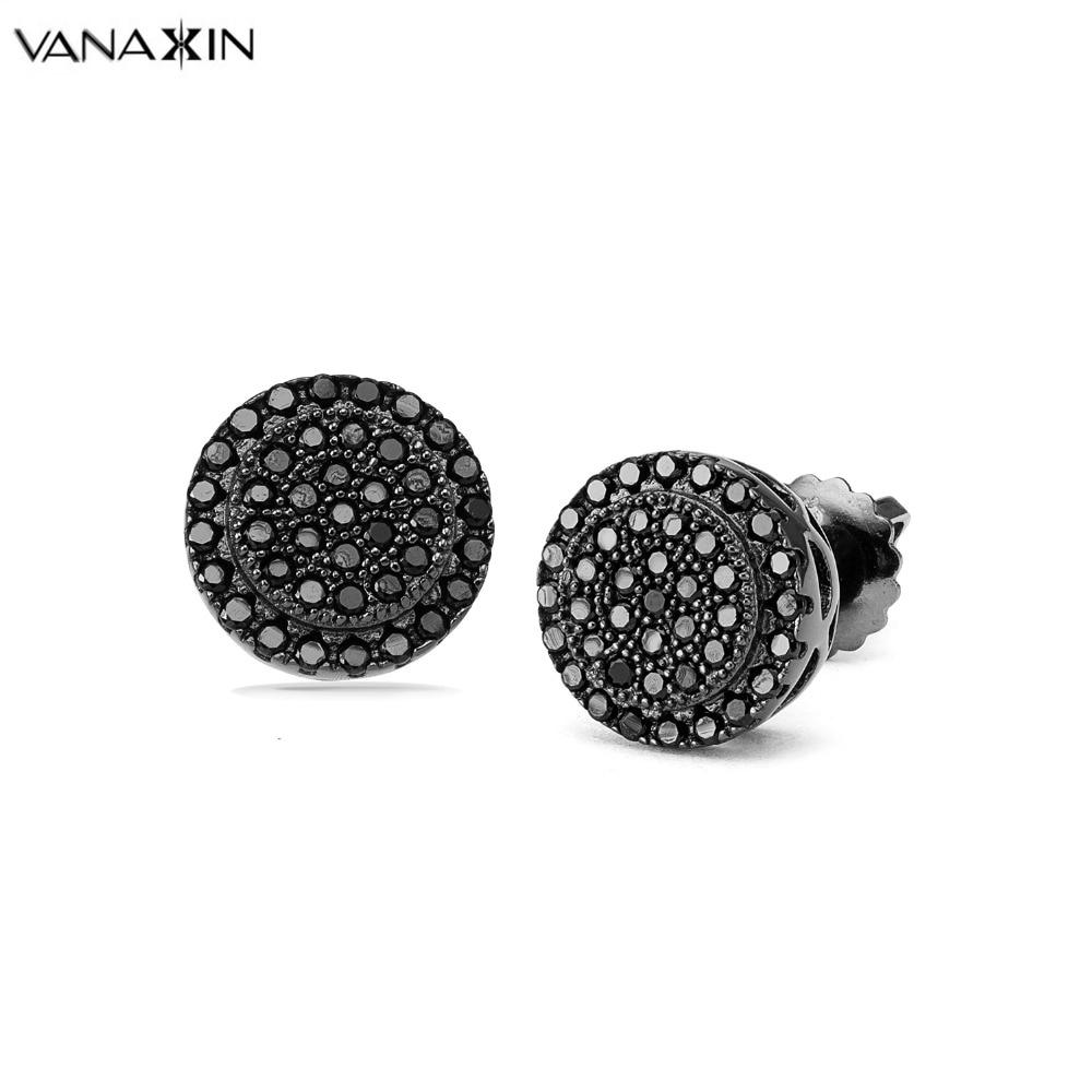 Náušnice VANAXIN Stříbrné 925 Brincos pro muže Ženy Módní šperky AAA Mini Kulatý Kubický Zirconia Šperky Exqusite Box CC
