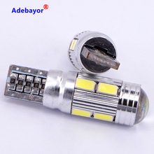 100 adet/grup T10 canbus led 10 SMD 5630 çip 501 W5W 194 hatasız araç LED Lens gösterge kama kubbe ışık ampul lamba araba styling