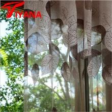 Luxury Modern Leaves Designer Curtain Tulle