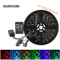 DUMVOIN IP65 Waterproof 5M 5050 Black PCB-RGB 300LEDs LED Strip DC 12V+20 Key IR Music Controller+12V 5A 60W Power Supply