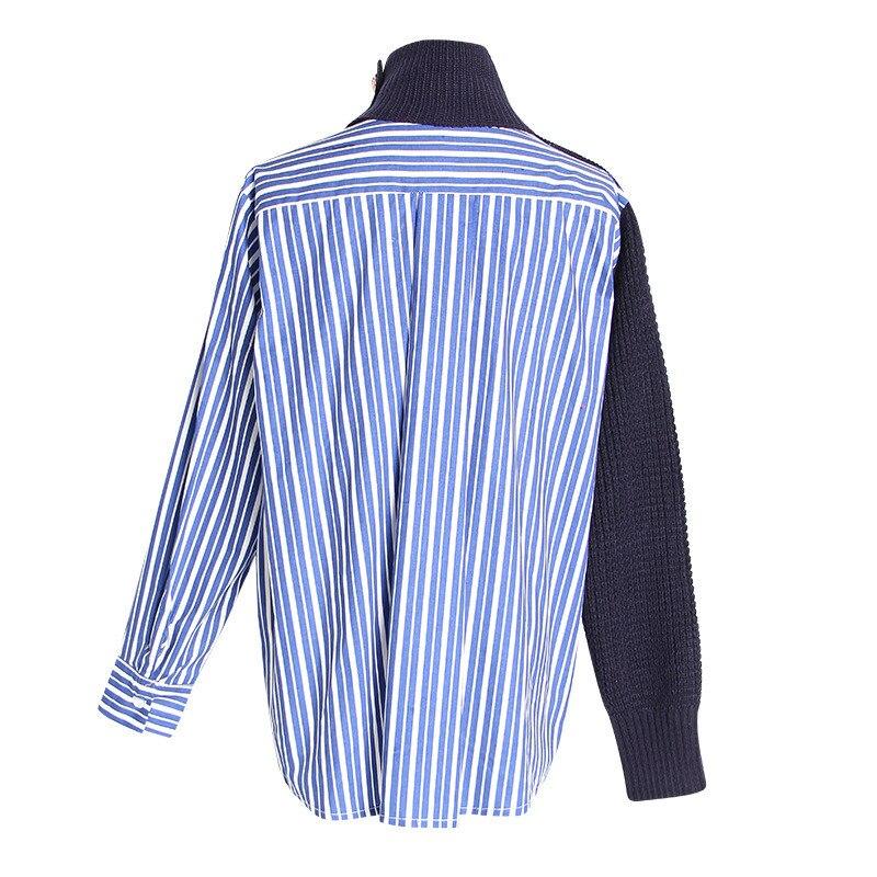 Marque Hit Femmes Chandail Beige Irrégulière Automne Longues 2018 F171 Pull Patchwork Chemises Couleurs Tricot Manches Rayé Femelle bleu Jumper rYCrgqx