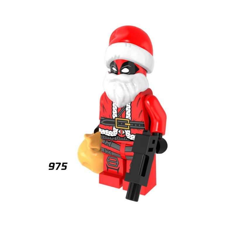Красный, белый, для deadpoles Deathstroke Санта-Клаус, Супер герои, строительные блоки, фигурные кирпичи, игрушка, Детский совместимый подарок Legoed
