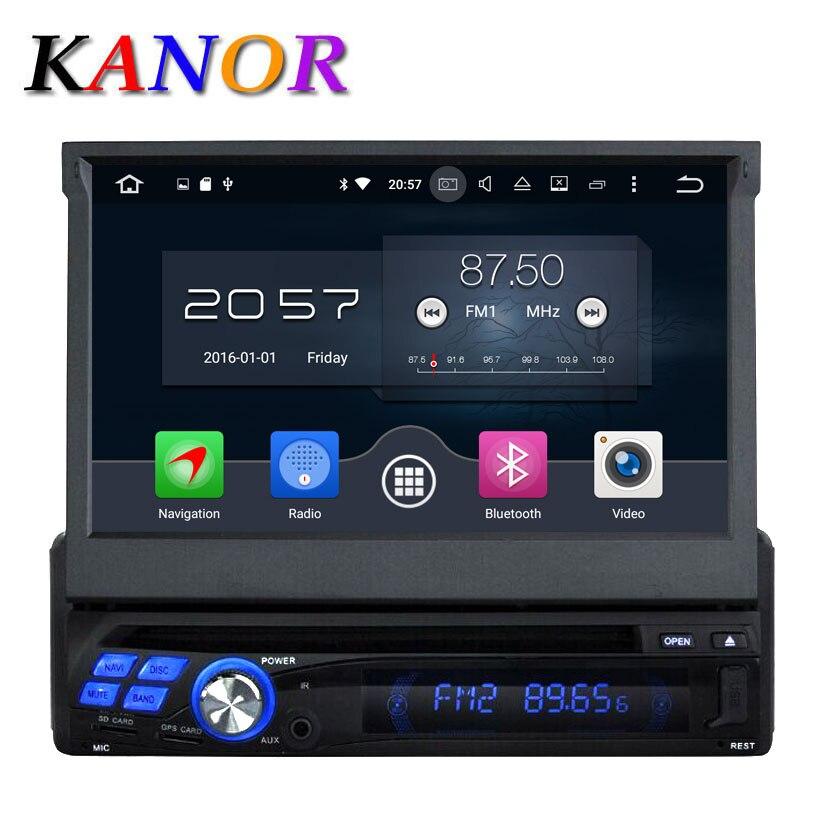 Kanor Android 6.0 1024*600 Octa core 2 г 7 дюймов один Дин GPS DVD плеер <font><b>Bluetooth</b></font> stereo Sat Nav RDS WI-FI мультимедиа