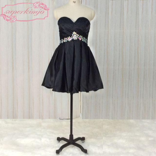 b9a219fb5caa4 SuperKimJo Kokteyl Elbiseleri Vestido De Formatura Curto 2018 Kısa Siyah Ucuz  Mezuniyet Elbiseleri. Sınıf Gelinlik