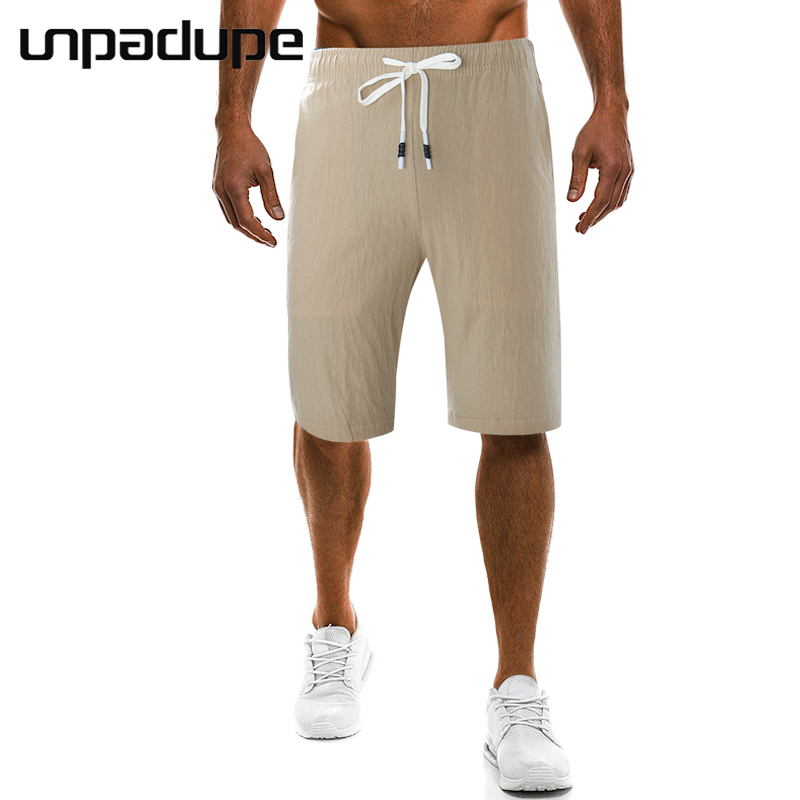 2018 Mens Shorts Casual Bermuda Brand Compression Solid Color Male Cargo Shorts Men Linen Fashion Men Short Summer Linen Large