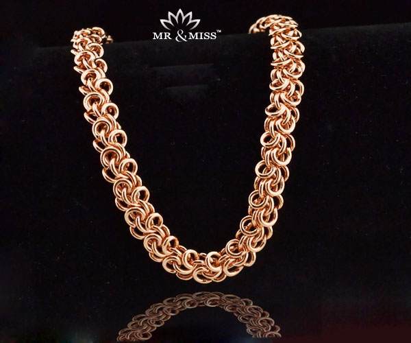 5mm Wide Trendy Men/ Women Bracelet Twisted Popcorn Chain 18K Rose Gold Filled Jewellery RB26 - Mr&Miss(J&L storeJewelry )