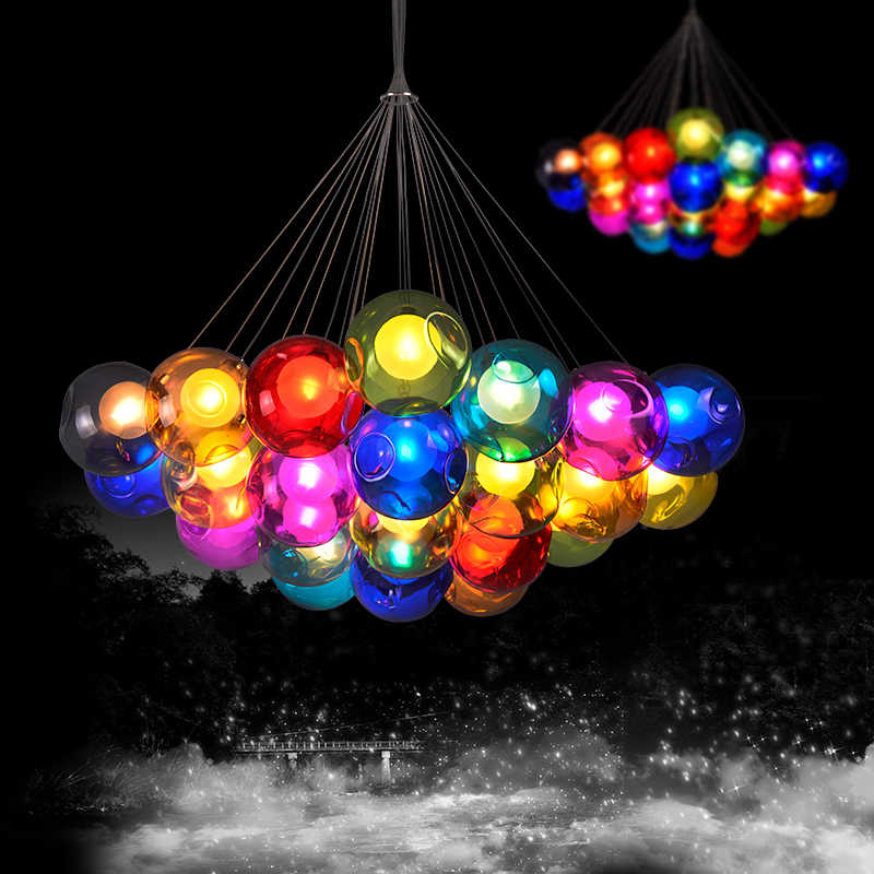 JAXLONG Bubble Pendant Light Creative Art Color Glass Simple Personality Living Room Romantic Bedroom Bubbled Lamps Children