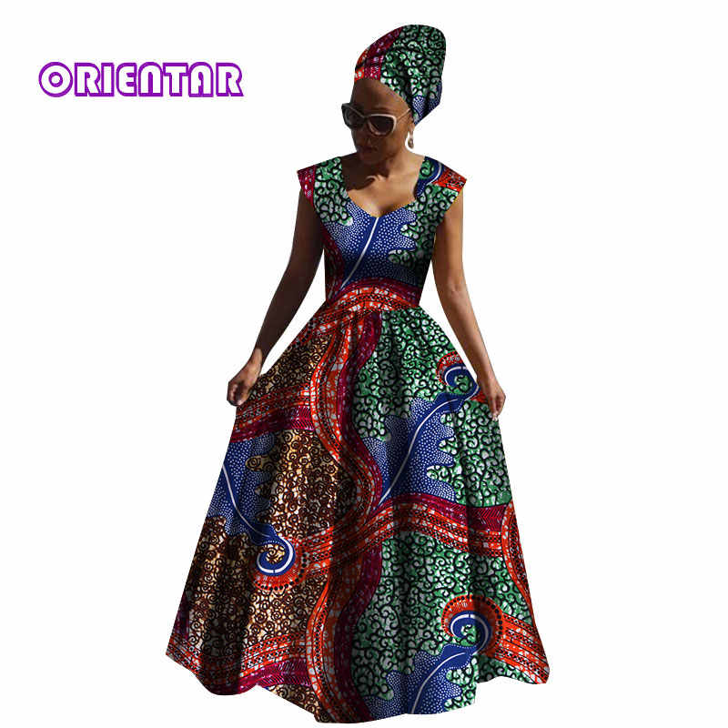6e43403b8be African Dresses for women Traditional African Clothing 2018 Large Swing  Waist Sleeveless Dress Women Printing Long