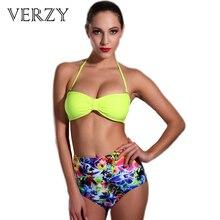 Sexy Neon yellow high waist bikini swimwear female Halter bandeau swimsuit top Biquini 2017 push up