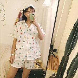 Image 5 - Yeni 2019 pijama setleri kadınlar baskı geometrik sevimli 3 adet Set kısa kollu üst + şort elastik bel + Blinder gevşek S83201