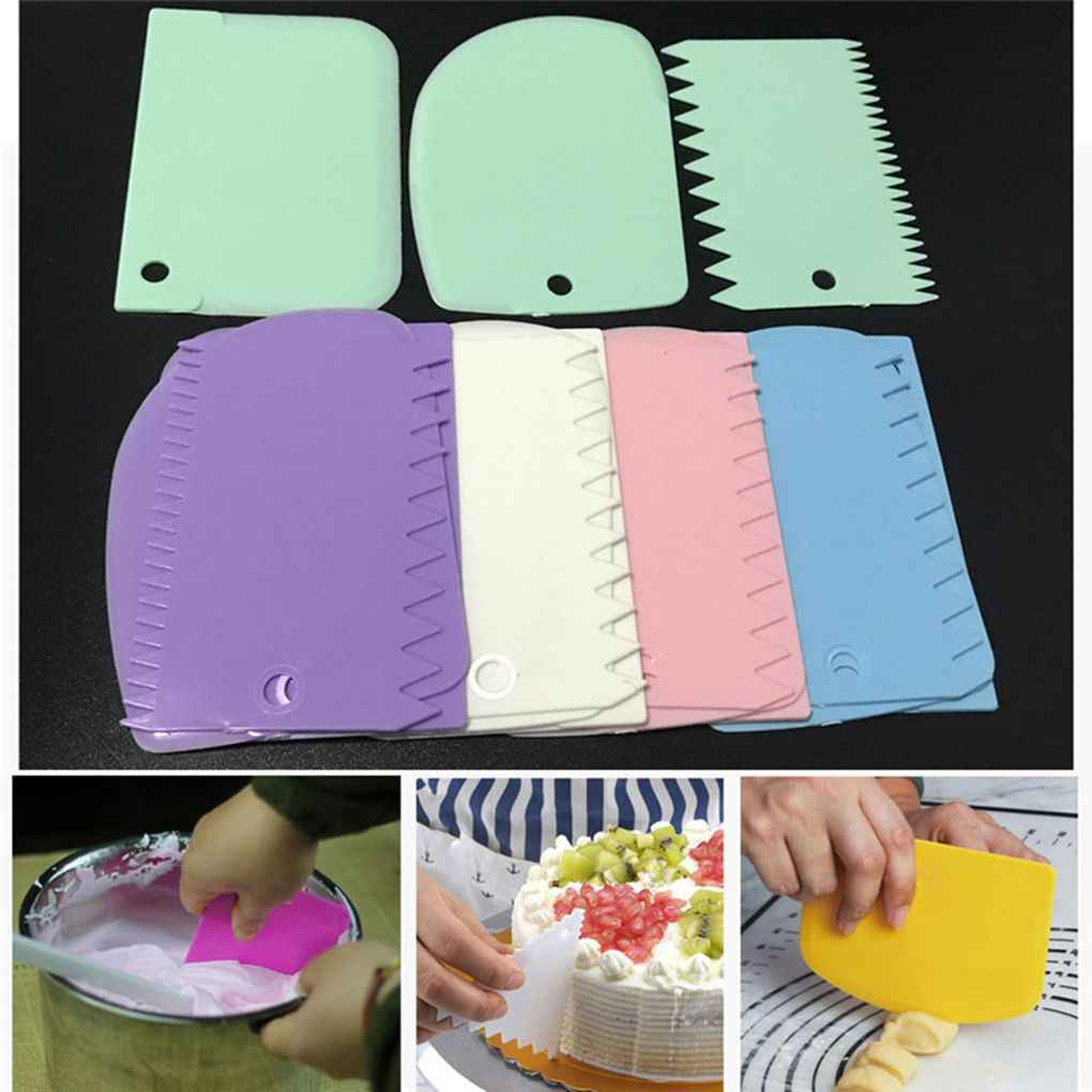 3PCS/Set Plastic Cake Decorating Tools Dough Icing Scrappers Kitchen Accessaries Cake Edge Smoother Kit