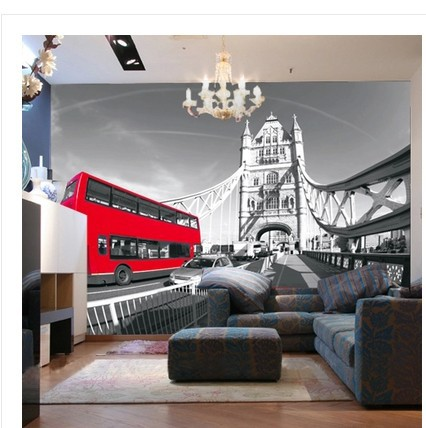 Nice ... Free Shipping British Style London Bus Car Fresco Cafe Bar Restaurant  Lounge Living Room Den Living ... Part 30