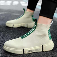 Fashion High Top Casual Shoes Men Breathable Flats Mens Casual Slip-On Platform Shoes Men Sock Walking Footwear Man zapatos 2019