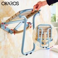 Asiento de ducha OKAROS  blanco  azul  montado en la pared  asiento de ducha plegable con patas  silla de ducha de relajación a prueba de agua para baño  inodoro
