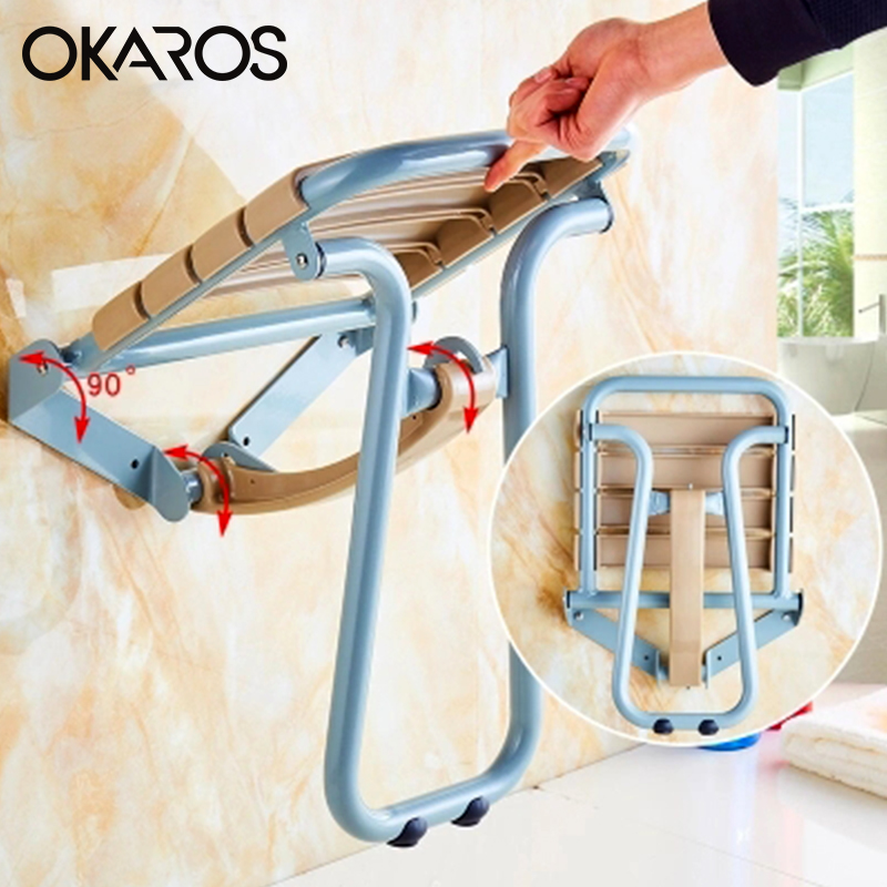 OKAROS White Blue Shower Seat Wall Mounted Folding Shower Seat With Legs Water Proof Relaxation Shower Chair for Bathroom Toilet