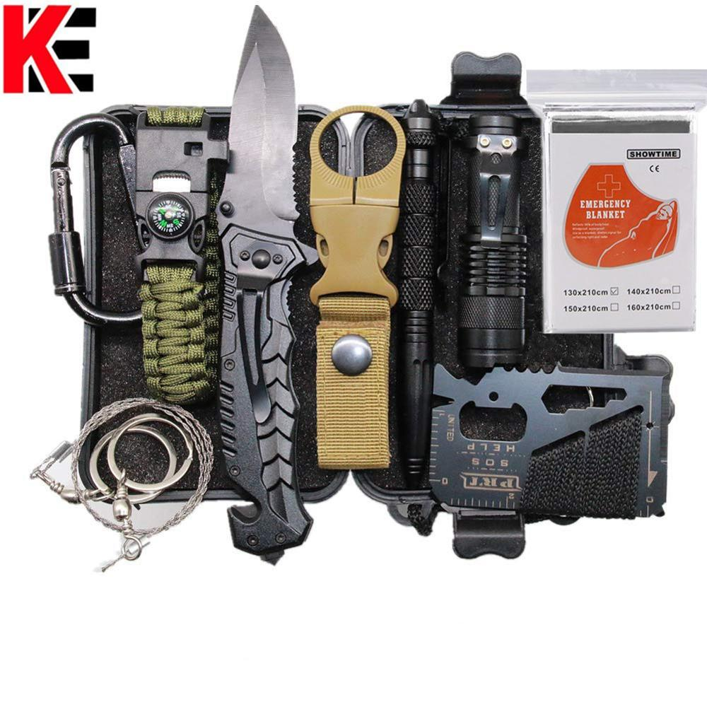 Multi Tools Survival Kit Set Outdoor Camping Travel Survival Tool First Aid SOS EDC Emergency Folding Knife Survival Pen Blanket