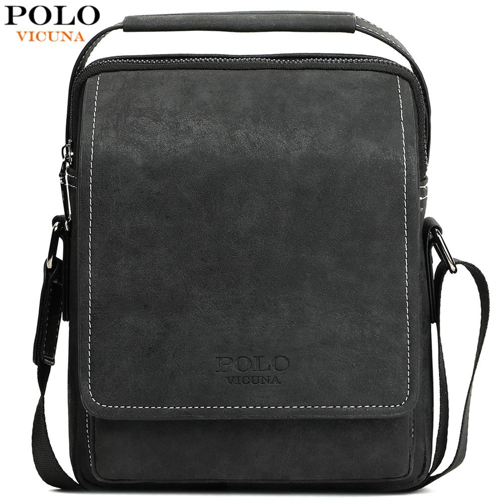 VICUNA POLO Vintage Frosted Leather Men Crossbody Bag With Handle Durable Fashion Business Man Bag Sling Shoulder Bags Handbag