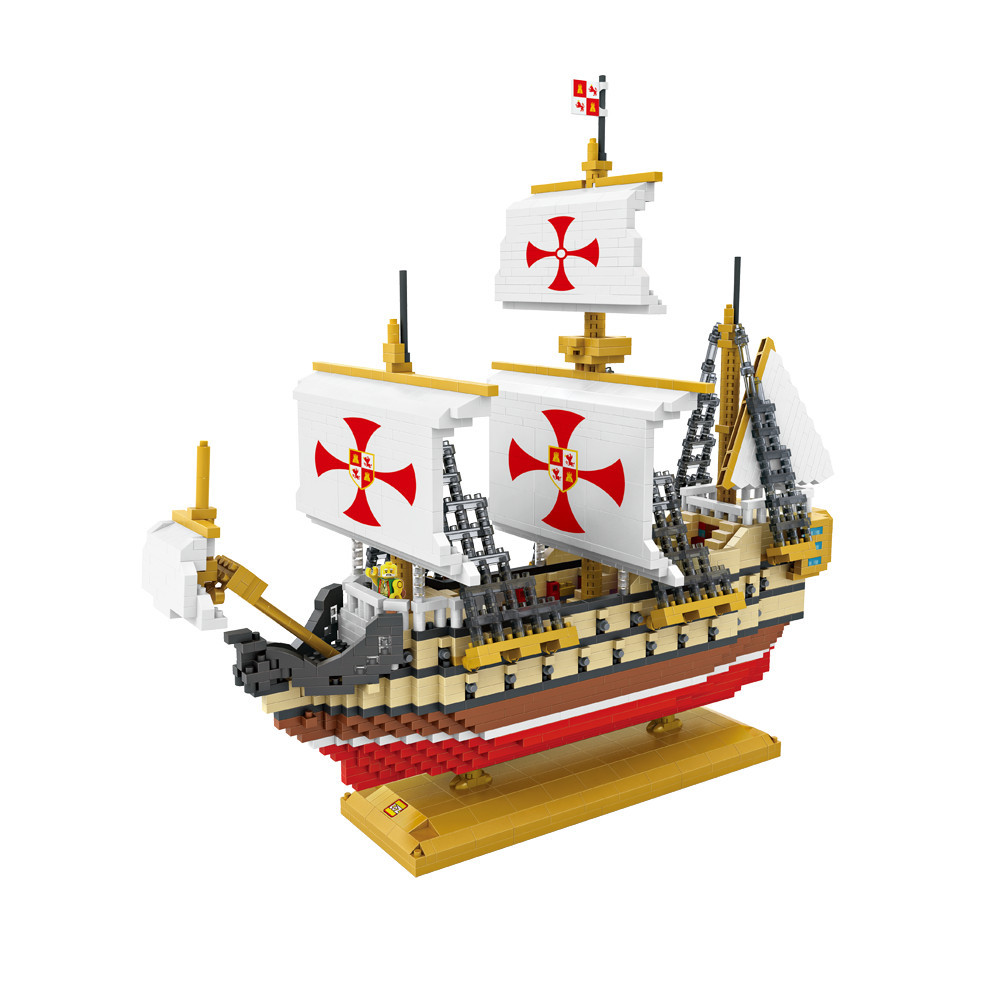 LOZ Diamond Building Blocks 2660 PCS Santa Maria Ocean Sailing Ship Children Assembly Mini Bricks Toys DIY Boat  Model