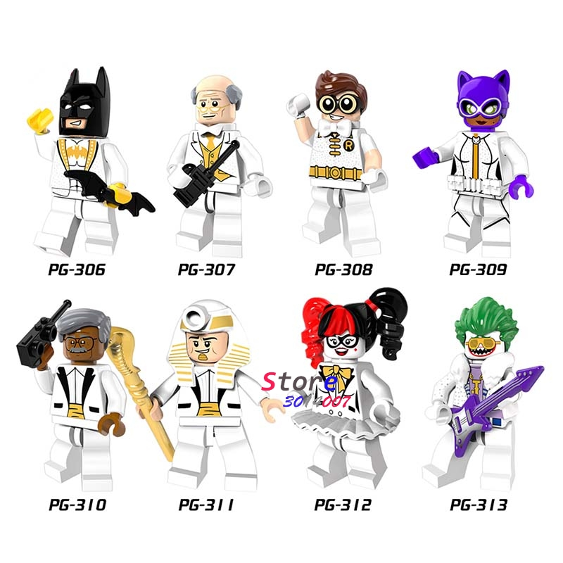 8pcs super hero Party Bat man Batman Joker Alfred Robin Harley Quinn Catwoman Gordon King Tut building blocks toys for children