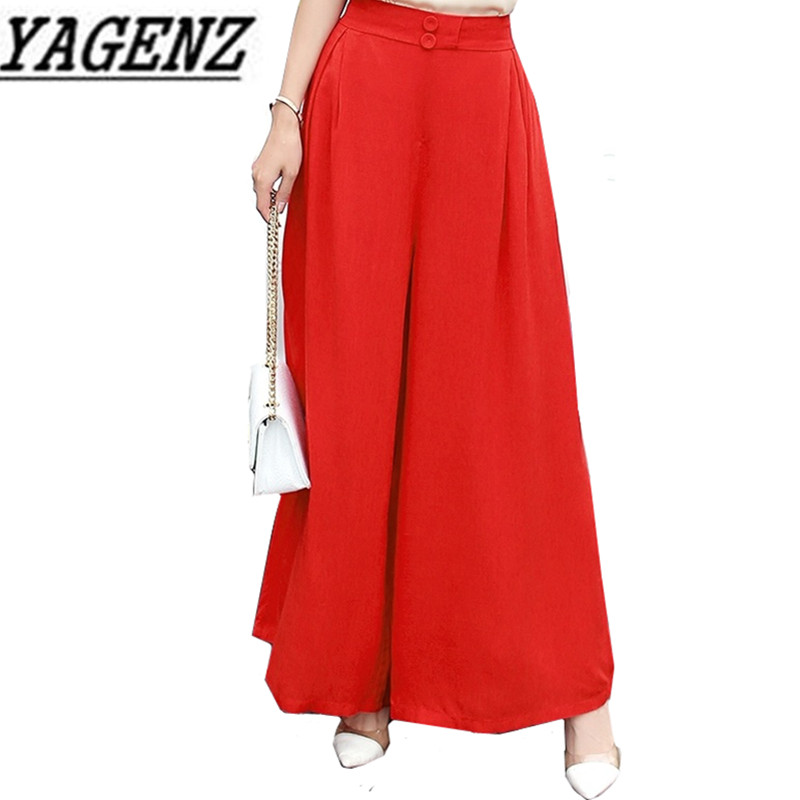 2018 New Fashion Summer Thin Cotton linen   Wide     leg     pants   Plus size Loose Elastic waist Casual Trousers Sexy Nine Yards   Pants   3XL