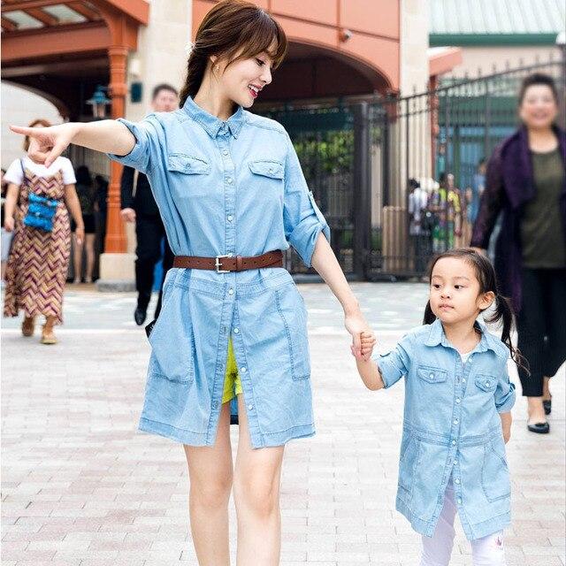 67d626c1b04 Printemps Automne Correspondant Mère Fille Vêtements Coton Femmes Jeans Robe  Cowboy Robe Mère Fille Robes Bébé