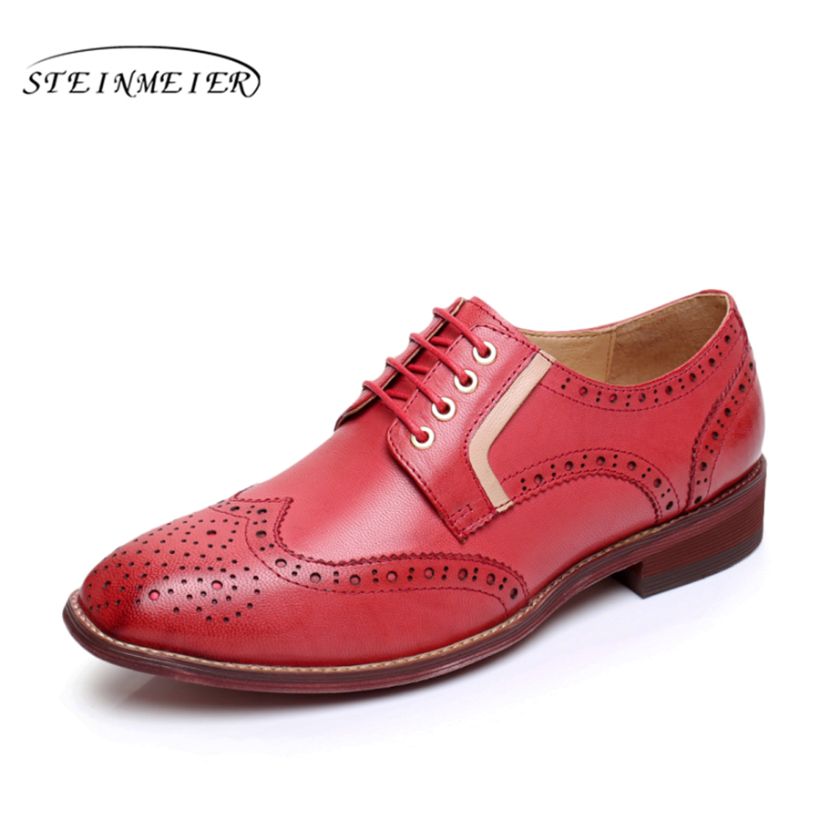 Genuine leather designer vintage yinzo flat shoes round toe handmade brown red black oxford shoes for women 2017 US size 8 genuine leather flat shoes women size 8 yinzo handmade beige brown vintage round toe british oxford shoes for women 2017