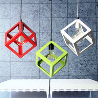 3 Color LED Pendant Light Industrial Cube Metal Pendant Light Accessory Loft Ceiling Lamp For Coffee