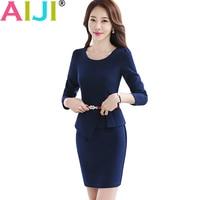 Women Work Wear Long Sleeve One Piece Dress OL Summer Elegant Hem Ruffles Slim Dresses Office