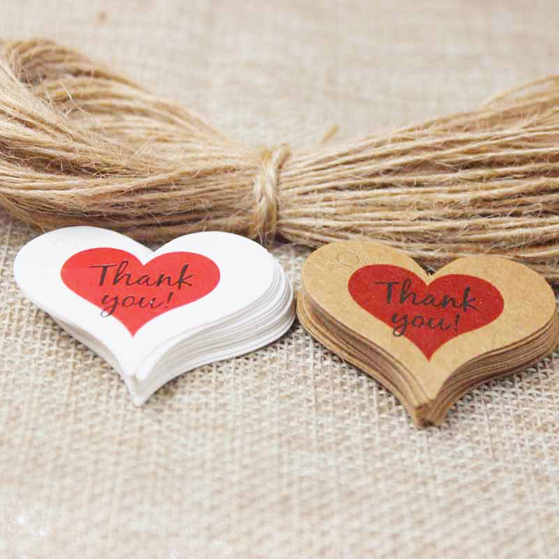 4*2.6cm Heart Shape Thank You Gift Label Tags 100pcs With 100 Hemp String DIY Kraft Paper Garment/luggage/bakery Tags Label