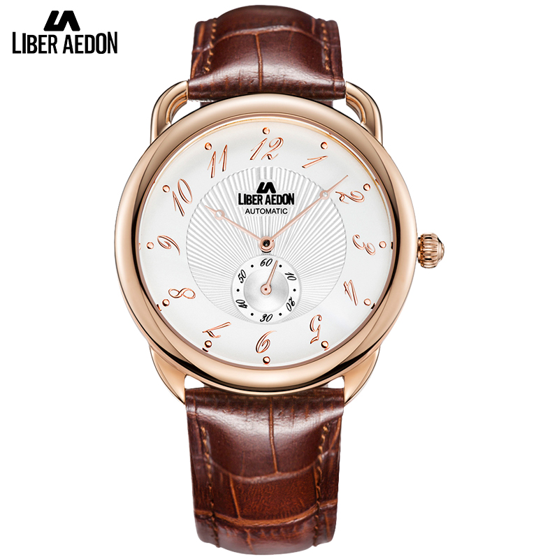 Liber Aedon Brown Leather Strap Top Brand Luxury Men Watch Anique Design Leisure Sport Quartz Classical Easy Read Mens Watches liber aedon gold stainless steel strap top brand luxury women watch anique design sport quartz elegant fashion women watches