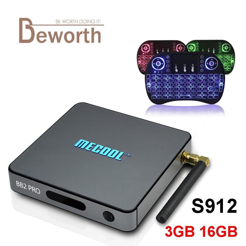 3GB DDR4 16GB MECOOL BB2 PRO Android 6.0 TV Box Amlogic S912 Octa Core 2.4/5G BT WIFI 4K BB2PRO Media Player Smart Set Top Box 3gb ram 16gb rom m8s pro android 7 1 tv box amlogic s912 octa core 2 4g 5g dual wifi bt4 0 4k smart media player i8 keyboard