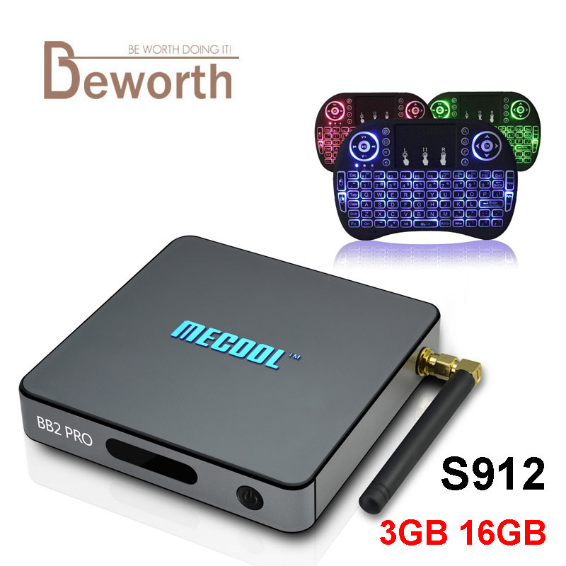 3GB DDR4 16GB MECOOL BB2 PRO Android 7.1 TV Box Amlogic S912 Octa Core 2.4/5G BT WIFI 4K BB2PRO Media Player Smart Set Top Box