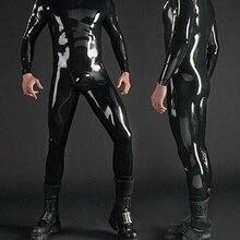 Латексный резиновый мужской комбинезон для ног боди на все тело колготки плечо молния размер XS~ XXL