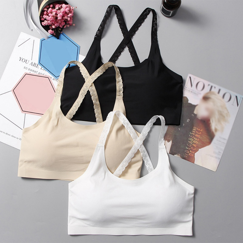 Women Breathable Lace Ice Silk Push Up Bras Comfy Elastic Solid Color Padded Sleep Active Bra for Female 2019 New Arrival in Bras from Underwear Sleepwears