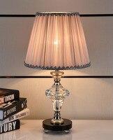 Кровать освещение спальни лампа Роскошные Качество Мода Современный Краткая розовый кристалл настольная лампа led
