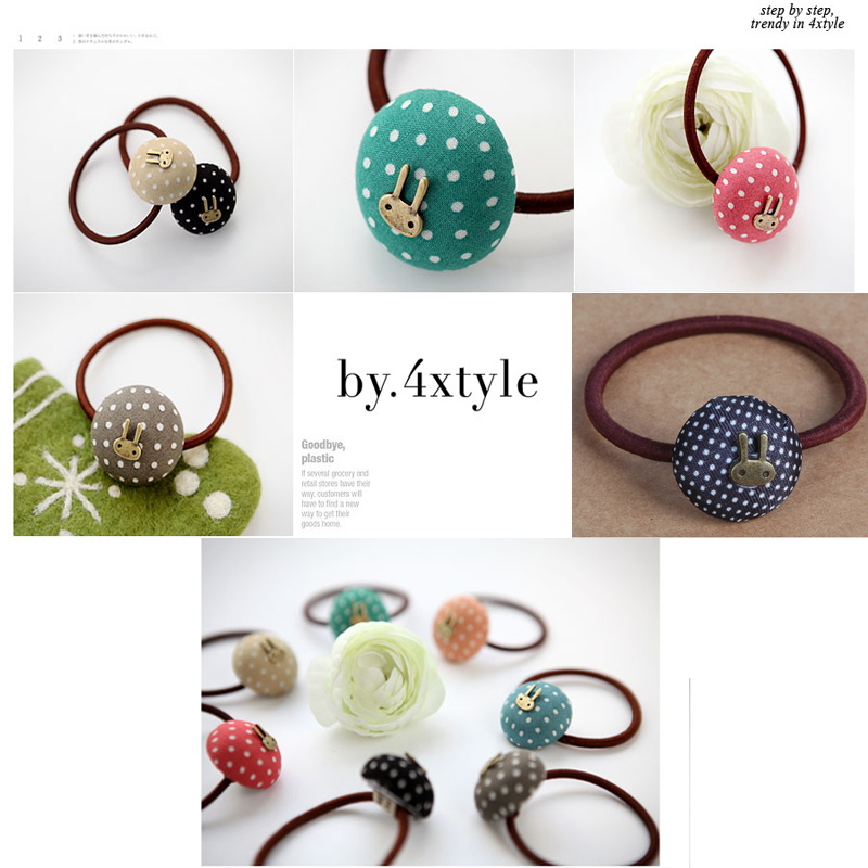 Korea Style Fashion Jewelry Cute Rabbit Hair Band Dot Button Hair Rope Hair Accessories High Quality Rubber Band For Girls Women
