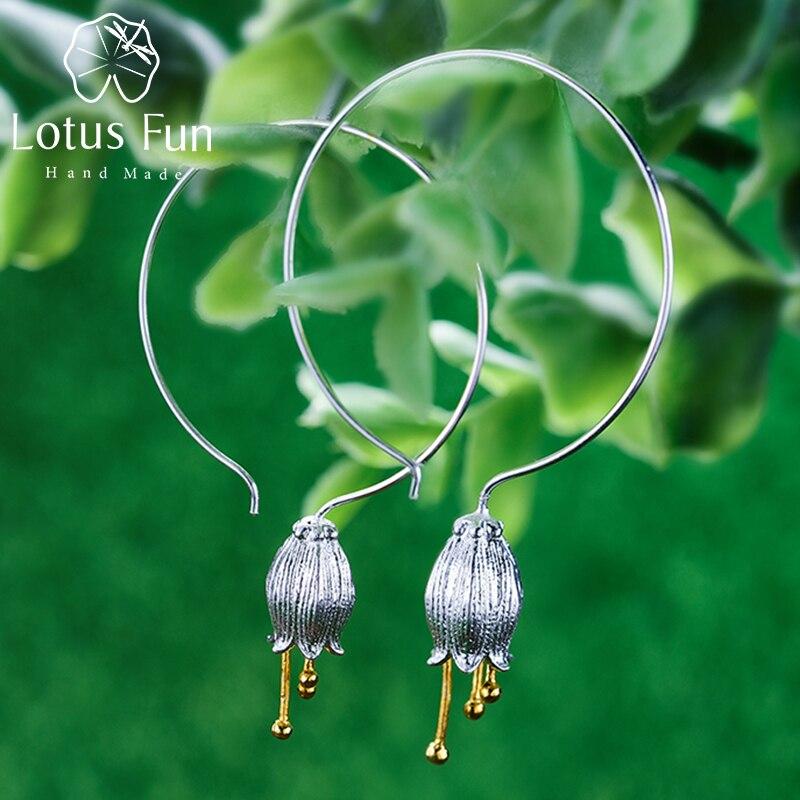 Lotus สนุกจริง 925 เงินสเตอร์ลิงเครื่องประดับธรรมชาติสร้างสรรค์ Handmade Fine Jewelry เครื่องประดับ Bell ดอกไม้ Dangle ต่างหูสำหรับผู้หญิง-ใน ต่างหู จาก อัญมณีและเครื่องประดับ บน AliExpress - 11.11_สิบเอ็ด สิบเอ็ดวันคนโสด 1