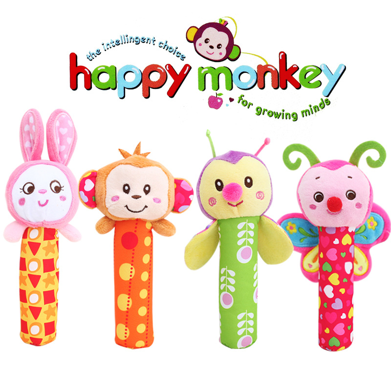 HAPPY MONKEY Baby Educational Toys Rattle Animal Hand Bell