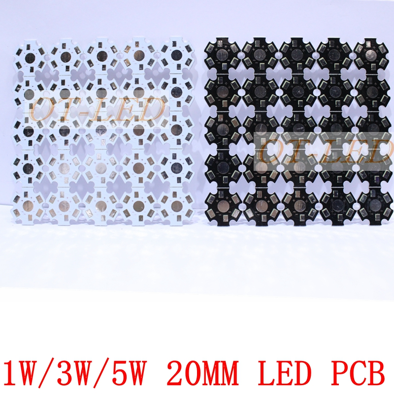 100pcs 1W 3W 5W Heat Sink LED Aluminum Base Plate PCB Board Substrate 20mm Star Kit DIY Cooling Heatsink 20 mm for 1 3 5 W Watt 5 x 1w led driver w gu10 connector base white