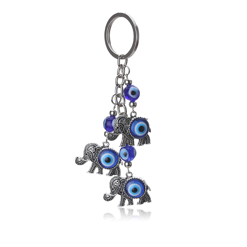 1pc Blue Evil Eye Charms Keychain Elephant Pendent Key Chain Alloy Tassel Car Key Chain Fashion Jewelry Gifts