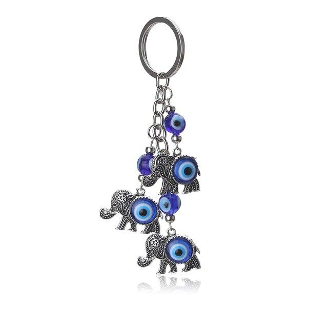 1pc Blue Evil Eye Charms Keychain Elephant Pendent Key Chain Alloy Tassel Car Ke