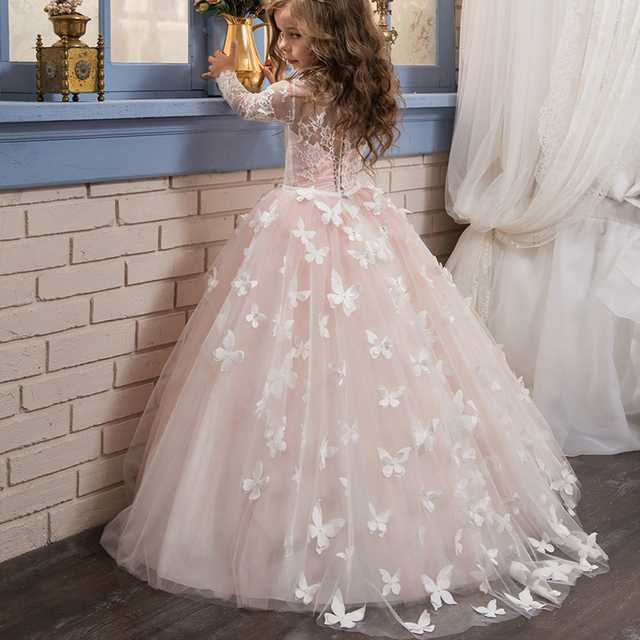 Pretty flower girl pageant dresses 2017 butterfly train kids pretty flower girl pageant dresses 2017 butterfly train kids graduation dresses tulle lace long sleeves holy mightylinksfo